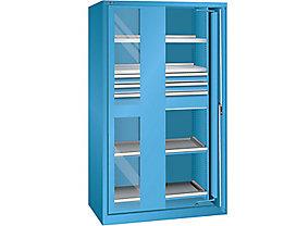 Lista Schwerlasteinschwenktürenschrank - 3 Schubladen, 4 Fachböden, mit Sichtfenstertüren