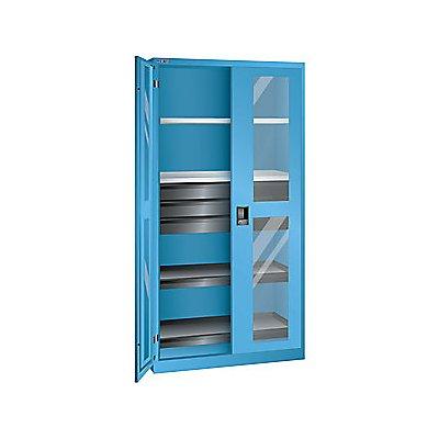 Lista Sichtfensterschrank, HxBxT 1950 x 1000 x 580 mm - Leergehäuse mit 4 Fachböden, 3 Schubladen