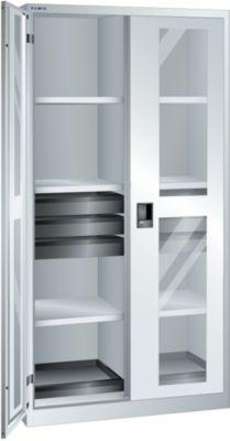Lista Sichtfensterschrank, HxBxT 1950 x 1000 x 580 mm - Leergehäuse mit 8 Fachböden, 6 Schubladen