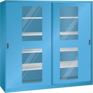 Lista Schiebetürenschrank mit Sichtfenstertüren - 8 Fachböden
