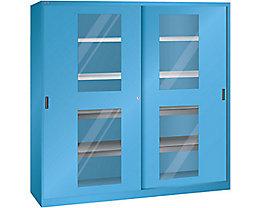 Lista Schiebetürenschrank mit Sichtfenstertüren - 4 Fachböden, 4 Auszugböden, lichtblau