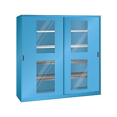 Lista Schiebetürenschrank mit Sichtfenstertüren - 4 Fachböden, 4 Auszugböden