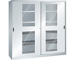 Lista Schiebetürenschrank mit Sichtfenstertüren - 4 Fachböden, 4 Auszugböden, lichtgrau