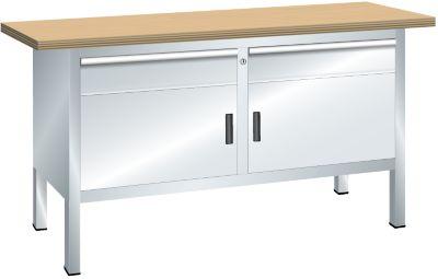 Lista Kompaktwerkbank, Höhe 840 mm - Breite 1500 mm, 2 Schubladen, 2 Türen