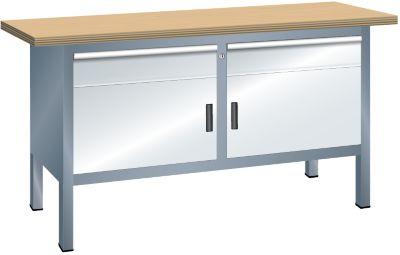 Lista Kompaktwerkbank, Tiefe 700 mm - Breite 1500 mm, 2 Schubladen, 2 Türen