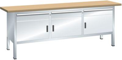 Lista Kompaktwerkbank, Höhe 840 mm - Breite 2000 mm, 3 Schubladen, 3 Türen