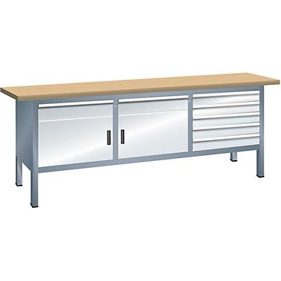 Lista Kompaktwerkbank, Höhe 840 mm - Breite 2000 mm, 7 Schubladen, 2 Türen