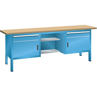 Lista Kompaktwerkbank, Multiplexplatte - 2 Schubladen, 2 Türen, 4 Fachböden