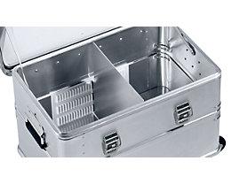 ZARGES Alu-Kombiboxen-Trennwandsystem - für 60 / 81 Liter-Box - 1 Trennwand, 2 Rasterleisten
