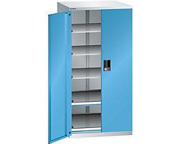 Lista Schubladenschrank - Höhe 1450 mm, 5 Böden, Traglast 75 kg, lichtgrau / lichtblau
