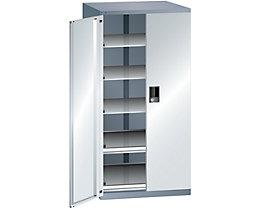Lista Schubladenschrank - Höhe 1450 mm, 5 Böden, Traglast 75 kg, grau metallic / lichtgrau