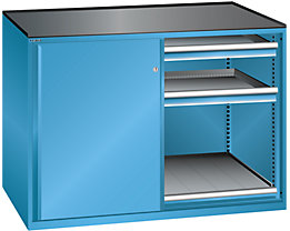 Lista Schiebetürenschrank, Traglast Auszugboden 75 kg - 4 Schubladen, 2 Auszugböden, lichtblau