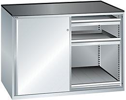 Lista Schiebetürenschrank, Traglast Auszugboden 75 kg - 4 Schubladen, 2 Auszugböden, lichtgrau