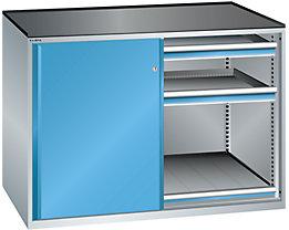 Lista Schiebetürenschrank, Traglast Auszugboden 75 kg - 4 Schubladen, 2 Auszugböden, lichtgrau / lichtblau