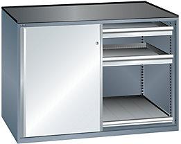 Lista Schiebetürenschrank, Traglast Auszugboden 75 kg - 4 Schubladen, 2 Auszugböden, grau metallic / lichtgrau