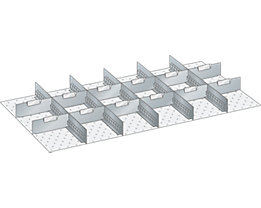 Lista Schubladeneinteilungsset - 5 Schlitzwände, 12 Trennbleche, 17-teilig, für Fronthöhe 150 mm