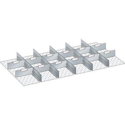 Lista Schubladeneinteilungsset - 5 Schlitzwände, 12 Trennbleche, 17-teilig, 125 mm