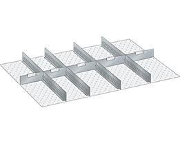 Lista Schubladeneinteilungsset - 4 Schlitzwände, 5 Trennbleche, 9-teilig, 125 mm