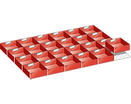 Lista Schubladeneinteilungsset - 24 Einsatzkästen, rot, für Fronthöhe 75 mm