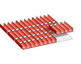 Lista Schubladeneinteilungs-Set - Mulden, rot, für Fronthöhe 50 mm, 49-teilig