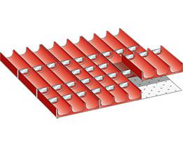 Lista Schubladeneinteilungs-Set - Mulden, rot, für Fronthöhe 50 mm, 39-teilig