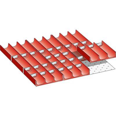 Lista Schubladeneinteilungs-Set - Mulden, rot, für Fronthöhe 50 mm