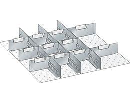 Lista Schubladeneinteilungs-Set - 3 Schlitzwände, 11 Trennbleche, für Fronthöhe 75 mm