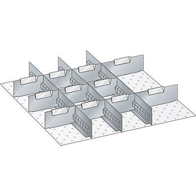 Lista Schubladeneinteilungs-Set - 3 Schlitzwände, 11 Trennbleche, für Fronthöhe 150 mm