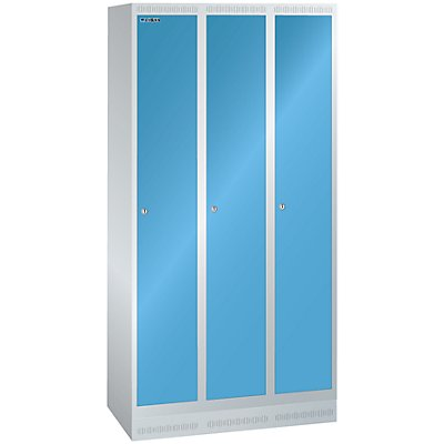 Lista Garderobenschrank, Höhe 1800 mm - BxT 900 x 500 mm, 3 Abteile, Vollblechtüren glatt