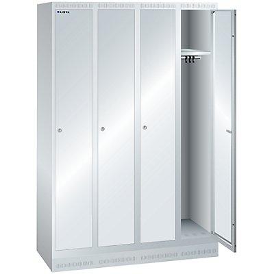 Lista Garderobenschrank, Höhe 1800 mm - BxT 1200 x 500 mm, 4 Abteile, Vollblechtüren glatt