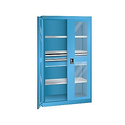 Lista Schwerlastschrank - 3 Fachböden, 2 Schubladen mit Sichfenstertüren