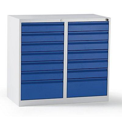 QUIPO Schubladenschrank, Stahl - HxBxT 900 x 1000 x 500 mm, 14 Schubladen