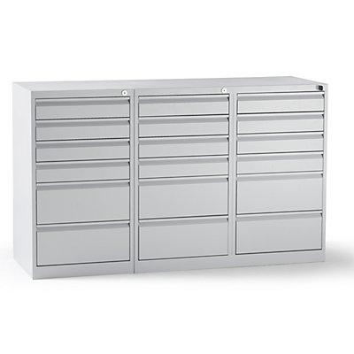 QUIPO Schubladenschrank, Stahl - HxBxT 900 x 1500 x 500 mm, 18 Schubladen