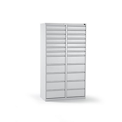 QUIPO Schubladenschrank, Stahl - HxBxT 1800 x 1000 x 500 mm, 24 Schubladen