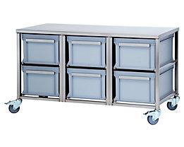 Edelstahl-Behälterwagen - 6 Behälter à 53 l