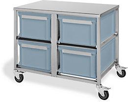 Edelstahl-Behälterwagen - 4 Behälter à 53 l
