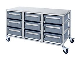 Edelstahl-Behälterwagen - 9 Behälter à 30 l