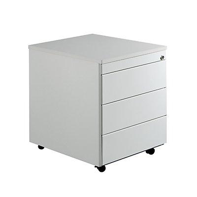 mauser Schubladencontainer mit Rollen - HxT 579 x 600 mm, Kunststoffplatte, 3 Schubladen, alusilber / gelbgrün / weiß