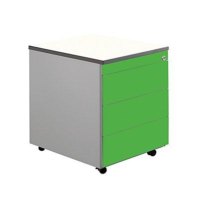 mauser Schubladencontainer mit Rollen - HxT 579 x 600 mm, Kunststoffplatte, 3 Schubladen, reinweiß / alusilber / Ahorn