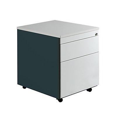 mauser Schubladencontainer mit Rollen - HxT 579 x 600 mm, Kunststoffplatte, 2 Schubladen, anthrazitgrau / lichtgrau / lichtgrau