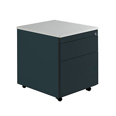 mauser Schubladencontainer mit Rollen - HxT 579 x 600 mm, Kunststoffplatte, 2 Schubladen