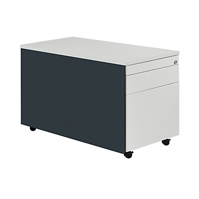 mauser Schubladencontainer mit Rollen - HxT 529 x 800 mm, Kunststoffplatte, 2 Schubladen