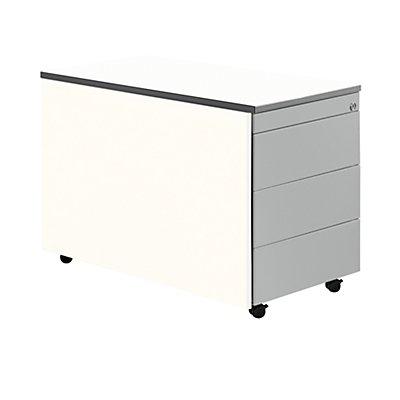 mauser Schubladencontainer mit Rollen - HxT 579 x 800 mm, Kunststoffplatte, 3 Schubladen