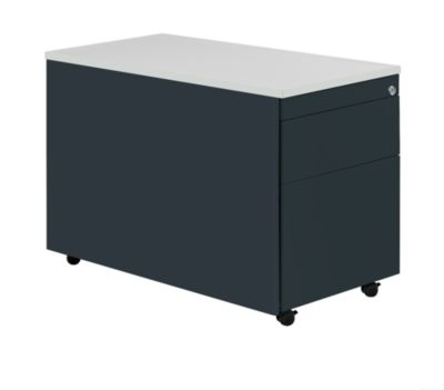 mauser Schubladencontainer mit Rollen - HxT 579 x 800 mm, Kunststoffplatte, 2 Schubladen