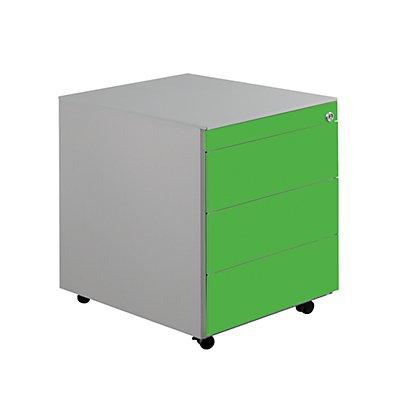 mauser Stahl-Rollcontainer - HxBxT 570 x 417 x 600 mm, 3 Schubladen
