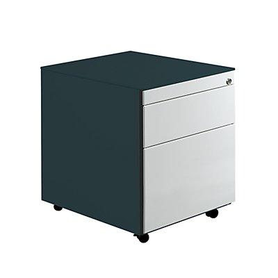 Mauser Schubladencontainer mit Rollen - HxT 570 x 600 mm, Stahlplatte, 2 Schubladen