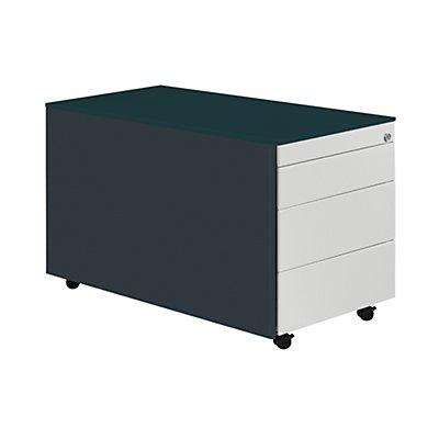 mauser Schubladencontainer mit Rollen - HxT 520 x 800 mm, Stahlplatte, 3 Schubladen