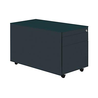 mauser Schubladencontainer mit Rollen - HxT 520 x 800 mm, Stahlplatte, 2 Schubladen