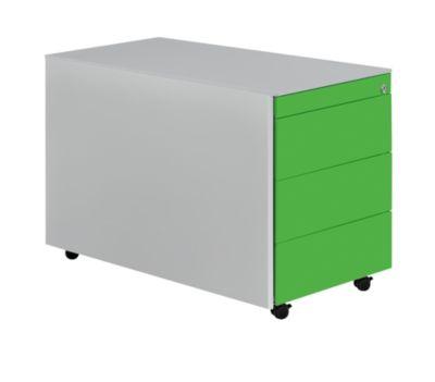 Mauser Schubladencontainer mit Rollen - HxT 570 x 800 mm, Stahlplatte, 3 Schubladen