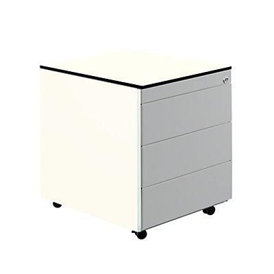 mauser Schubladencontainer mit Rollen - HxT 573 x 600 mm, HPL-Vollkernplatte, 3 Schubladen